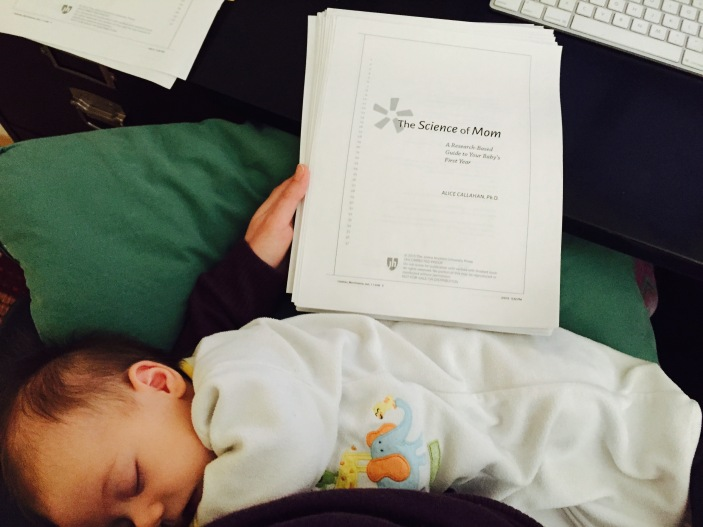 BabyM and I check over the page proofs for The Science of Mom in February 2015.