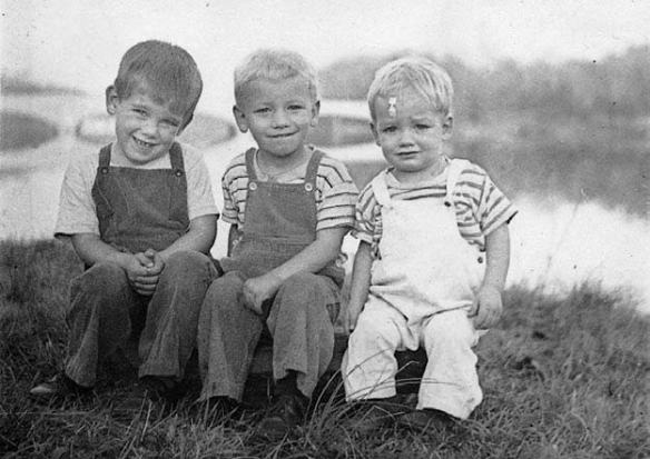 Three brothers (from left to right): Richard, Frankie, and Larry Green, circa 1953 or 1954, in Princeton, New Jersey. Frankie died in 1956, at age 6, of encephalitis caused by measles. Photo by Margaret Green, used with permission.